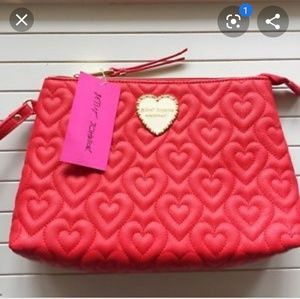 Betsey Johnson quilted hearts wristlet